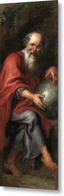 Democritus Metal Print by Peter Paul Rubens and Workshop