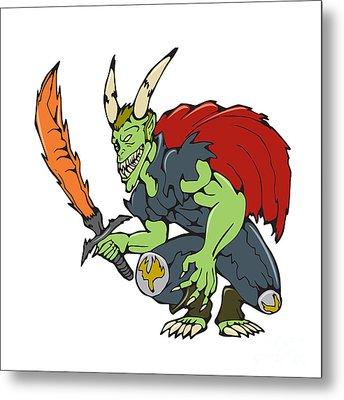 Demon Wield Fiery Sword Cartoon Metal Print by Aloysius Patrimonio