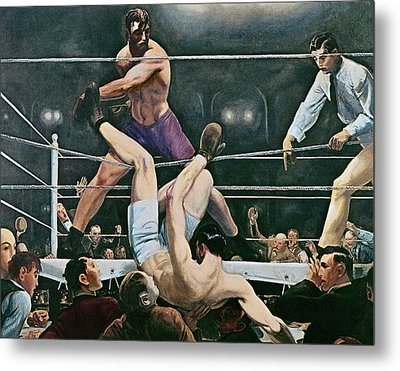 Dempsey V Firpo In New York City Metal Print by George Wesley Bellows