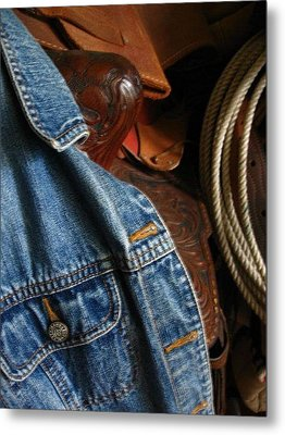 Denim And Leather Metal Print by Deb Martin-Webster