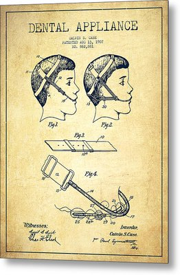 Dental Appliance Patent From 1907 - Vintage Metal Print by Aged Pixel