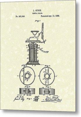 Dental Chair 1888 Patent Art Metal Print by Prior Art Design
