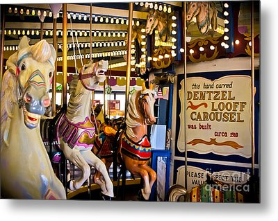 Dentzel Looff Antique Carousel  Metal Print by Colleen Kammerer