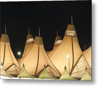 Denver Airport At Night Metal Print by Juli Scalzi