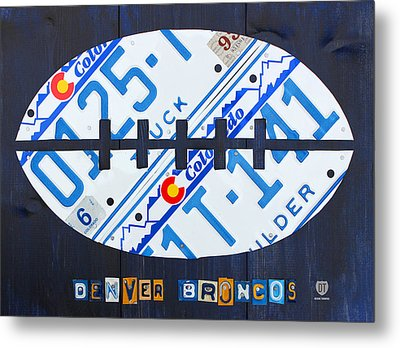 Denver Broncos Football License Plate Art Metal Print by Design Turnpike