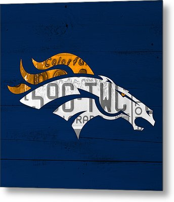 Denver Broncos Football Team Retro Logo Colorado License Plate Art Metal Print by Design Turnpike