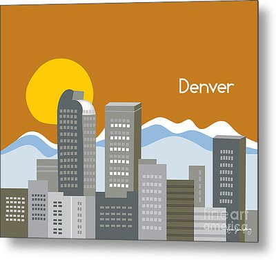Denver Skyline Print Metal Print by Karen Young