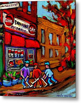 Depanneur  Marche Epicerie Montreal Summer Street Hockey Painting South West City Scene Metal Print by Carole Spandau