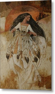 Departure Of White Buffalo Woman Metal Print by Pamela Mccabe