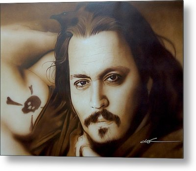 Johnny Depp - ' Depp II ' Metal Print by Christian Chapman Art