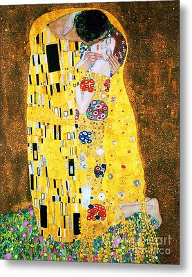 Der Kuss Or The Kiss By Gustav Klimt Metal Print by Pg Reproductions