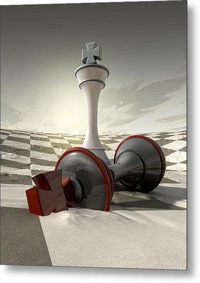 Desert Chess Defeat Metal Print by Allan Swart