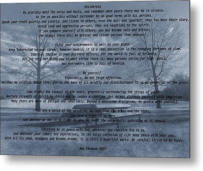 Desiderata Winter Scene Metal Print by Dan Sproul