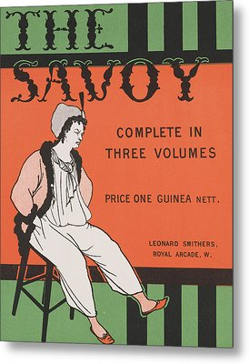 Design For The Front Cover Of 'the Savoy Complete In Three Volumes' Metal Print by Aubrey Beardsley