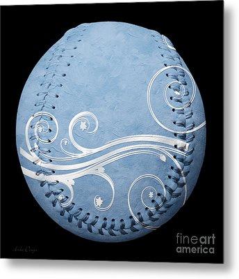 Designer Light Blue Baseball Square Metal Print by Andee Design