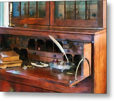 Desk With Quill And Books Metal Print by Susan Savad