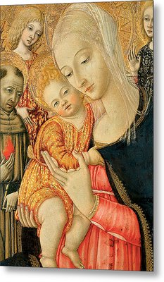 Detail Of Madonna And Child With Angels Metal Print by Matteo di Giovanni di Bartolo