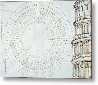 Detail Of Study With Map And Relief Of Colosseum Metal Print by Giuliano da Sangallo