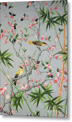Detail Of The 18th Century Wallpaper In The Drawing Room Photograph Metal Print by John Bethell