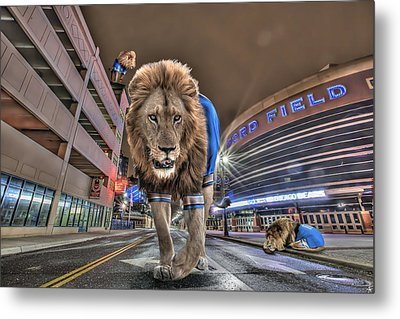 Detroit Lions At Ford Field Metal Print by Nicholas  Grunas