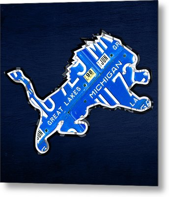 Detroit Lions Football Team Retro Logo License Plate Art Metal Print by Design Turnpike