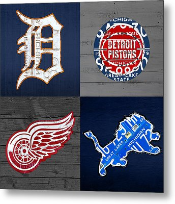 Detroit Sports Fan Recycled Vintage Michigan License Plate Art Tigers Pistons Red Wings Lions Metal Print by Design Turnpike