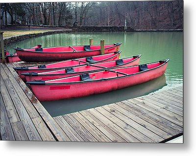 Devil's Den Red Canoes Metal Print by Tanya Harrison