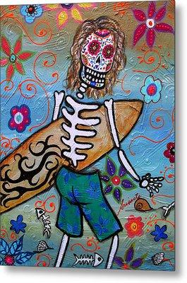 Dia De Los Muertos Surfer Metal Print by Pristine Cartera Turkus