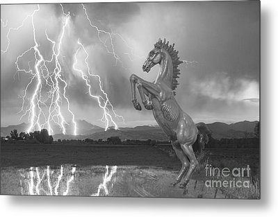 Dia Mustang Bronco Lightning Storm Bw Metal Print by James BO  Insogna