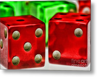 Dice - Lucky Seven Metal Print by Paul Ward
