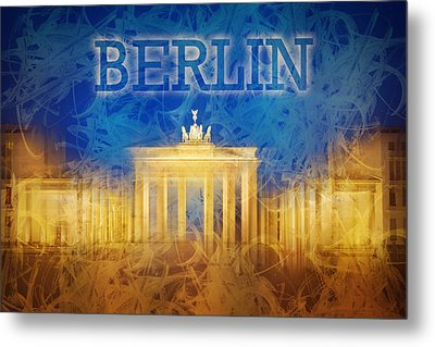 Digital-art Brandenburg Gate II Metal Print by Melanie Viola