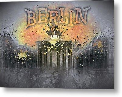 Digital-art Brandenburg Gate I Metal Print by Melanie Viola