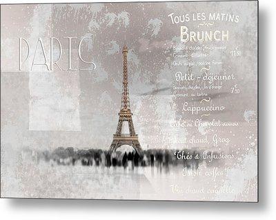 Digital-art Eiffel Tower II Metal Print by Melanie Viola