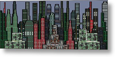 Digital Circuit Board Cityscape 5a - Wide Metal Print by Luis Fournier