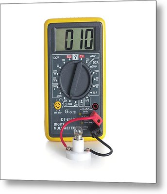 Digital Multimeter With Lightbulb Metal Print by Science Photo Library