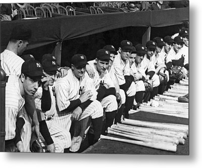 Dimaggio In Yankee Dugout Metal Print by Underwood Archives