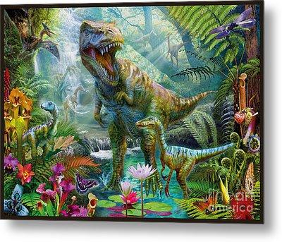 Dino Jungle Scene Metal Print by Jan Patrik Krasny