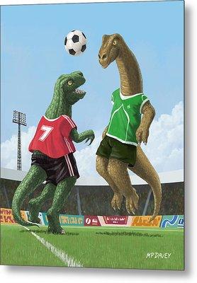 Dinosaur Football Sport Game Metal Print by Martin Davey