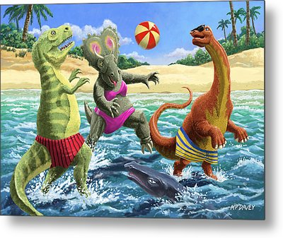 dinosaur fun playing Volleyball on a beach vacation Metal Print by Martin Davey