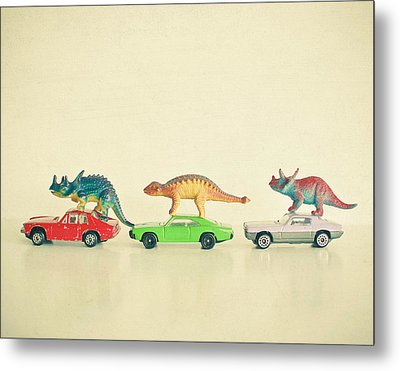 Dinosaurs Ride Cars Metal Print by Cassia Beck
