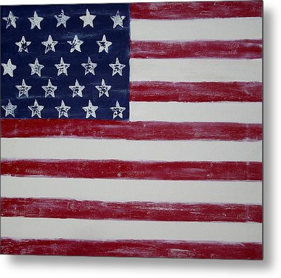 Distressed American Flag Metal Print by Holly Anderson