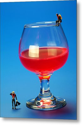 Diving In Red Wine Little People Big Worlds Metal Print by Paul Ge