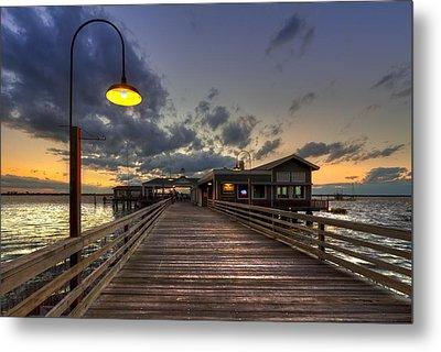Dock Lights At Jekyll Island Metal Print by Debra and Dave Vanderlaan