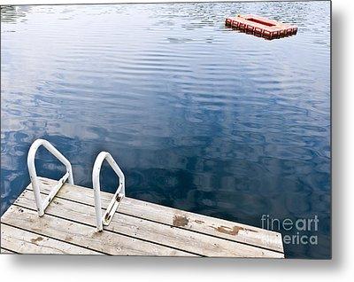 Dock On Calm Summer Lake Metal Print by Elena Elisseeva