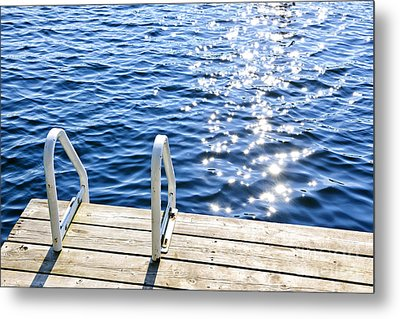 Dock On Summer Lake With Sparkling Water Metal Print by Elena Elisseeva