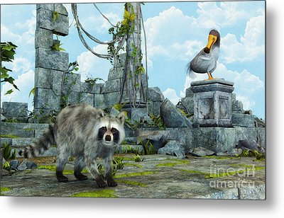 Dodo Meets Raccoon Metal Print by Jutta Maria Pusl