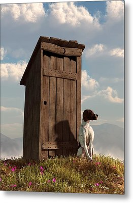 Dog Guarding An Outhouse Metal Print by Daniel Eskridge