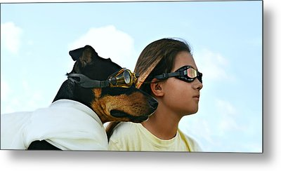 Dog Is My Co-pilot Metal Print by Laura Fasulo