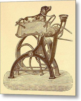Dog Powered Sewing Machine Metal Print by David Parker