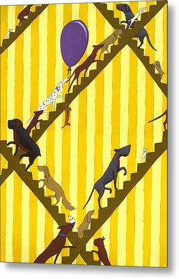 Dogs Going Up Stairs Metal Print by Christy Beckwith